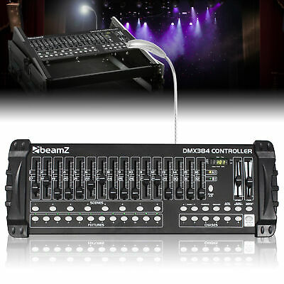 DMX Lighting Controller 384 Channel (12x32) with Faders, Blackout & Built-In Mic