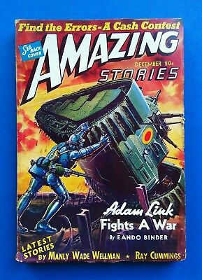 AMAZING STORIES Pulp Magazine ~ DEC 1940 ~ Ray Cummings  ADAM LINK FIGHTS A WAR