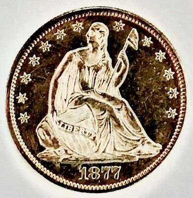 1877 Seated Liberty 50C!  Proof Like! So So Scarce! Ms+++++++ Wow Coin! Ultra Pl