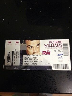 Robbie Williams Used Stub Take The Crown Tour Wembley June 30 2013