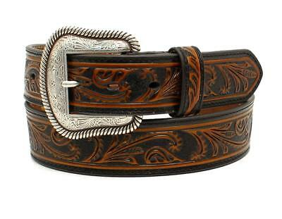 Nocona Western Mens Belt Leather Embossed Floral Tan N2412108