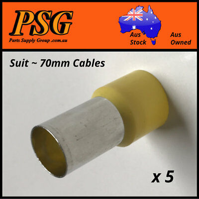 Cable Ferrules 70mm2 x 5 pack, Bootlace, Pin Crimps, Wire Sleeves