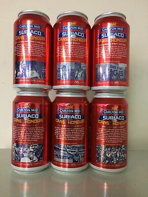 1 Set (6) Carlton Mid Subiaco Beer Cans