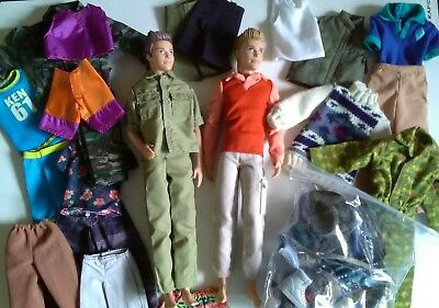 Lot of Ken DollsX2 With Vintage/Mix Clothes and Accessories