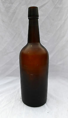 Antique Whiskey Bottle Amber Empty