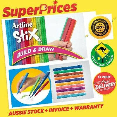 Artline Stix◉10 x Colouring Marker Pen◉Build Draw Play◉Washable◉Non-Toxic Ink◉3+