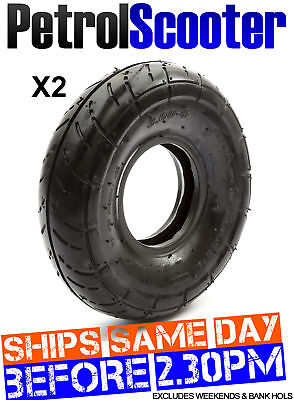 2 x Treaded Tyre 300-4 Mini Quad Petrolscooter Tire 4'' 4 Inch Rim Goped Scooter