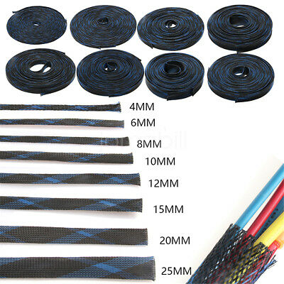 5M/10M 4mm Black Expandable Braided DENSE PET Cable Sleeving Audio Sleeve DIY
