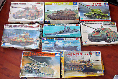 Job Lot Of Tamiya & Italeri Model Kits Complete And In Complete Sets.