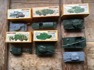 5 X Boxed + 2 Vintage Airfix Ho Oo Scale Tanks / Vehicles