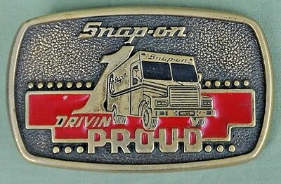 Vintage 1989 Snap-on Drivin Proud Brass Belt Buckle Limited Edition SSX-1313