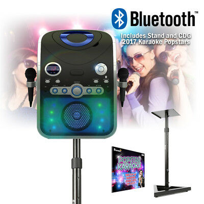 Bluetooth Home Karaoke Machine Microphones Lights Party Songs Discs with Stand