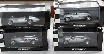 Lot of 4 1/43 Auto Union GP F1 cars Type A D C Minichamps etc Mercedes