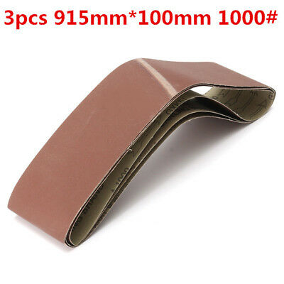 3pcs 915mm*100mm Alumina Sanding Belts 1000 Grit Sandpaper Self Sharpening Oxide