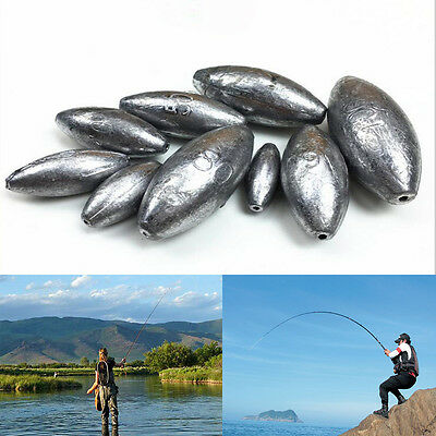 Olive Shape Weight 5 g Drilled Lead Sinker Sea Fishing Hook Terminal Accessories