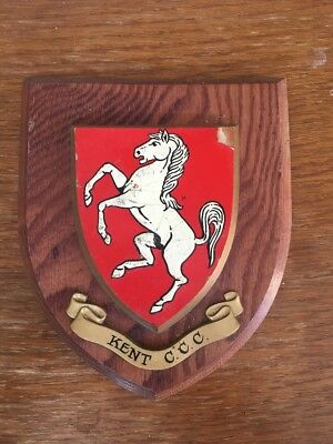 Kent CCC Vintage Hand Painted Wooden Plaque