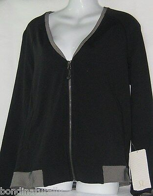 New Tags Lululemon H'om Run Yoga Gym Black Reflective Jacket Size 8 (Aus 12)