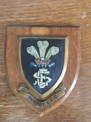 Surrey CCC Vintage Wooden Plaque