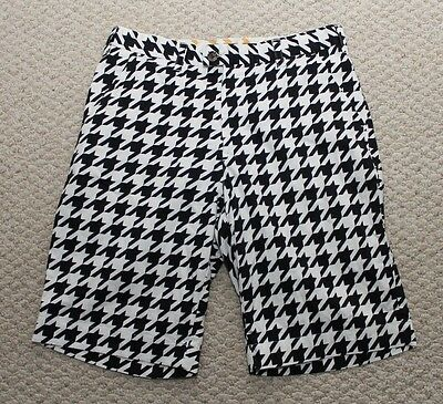 Loudmouth Golf Houndstooth Mens Shorts - Size 34 Black and White