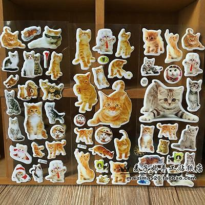 3pcs puffy pet cat PVC stickers lot children Stereoscopic toys  kids Xmas gift