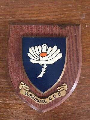Yorkshire CCC Vintage Hand Painted Wooden Plaque