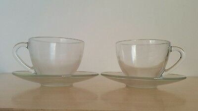 Two Arcopal cups and saucers vintage  clear Glass