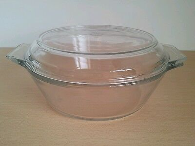 JAJ Pyrex made in England casserole dish and lid clear