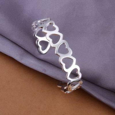 Hallow Heart Carved Bracelet Bangle Fashion Solid 925 Sterling Silver Jewellery
