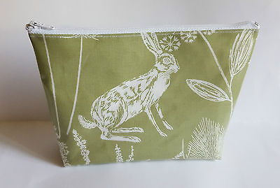 Sage Wild Rabbit Hare PVC Coated Fabric Handmade Make Up Bag Toiletry Bag
