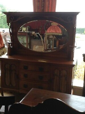 Stunning Edwardian Ornate Walnut Mirror Backed Sideboard/Chiffonier