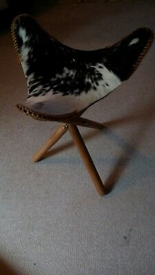 Cow Hide Natural Seat 3 Legs Fold Away Fishing Stool Antique  Statement Chair
