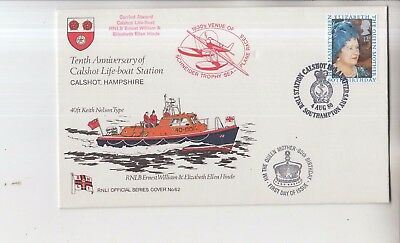 RNLI FIRST DAY VOVER COVER 10th ANNIVERSARY CALSHOT LIFEBOAT STATION Doble frank