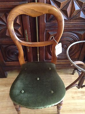 Beautiful Victorian Balloon Back Chair With Rich Green Velour Seat