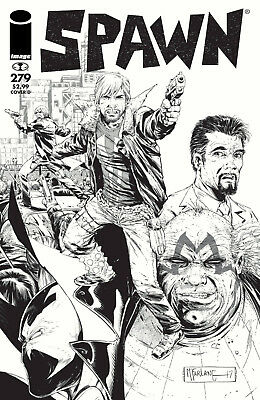 Spawn  #279 (2017) 1St Printing B&w Wlaking Dead Tribute Variant Cover Image