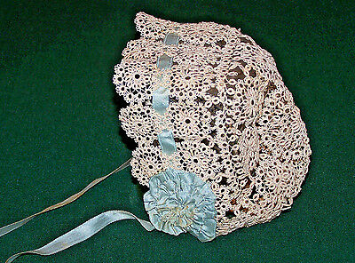 EXQUISITE VINTAGE TATTED LACE BABY BONNET, EDWARDIAN  ERA c1920
