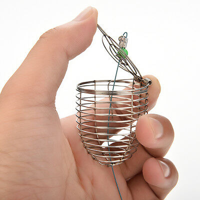 1 X Small Bait Cage Fishing Trap Basket Feeder Holder Stainless Steel Wire au