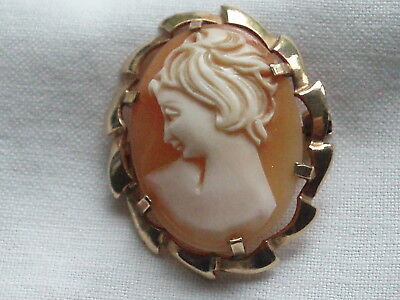 Antique Vintage 9Ct Gold Carved Shell Cameo Brooch