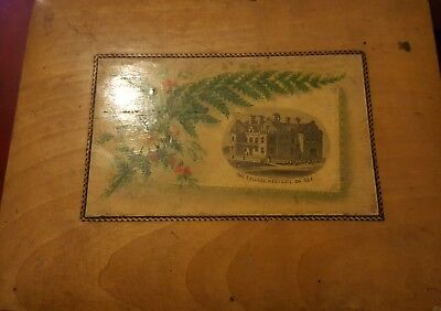 the college west gate on sea OLD  MAUCHLINE WARE WOODEN  BOX LOOK