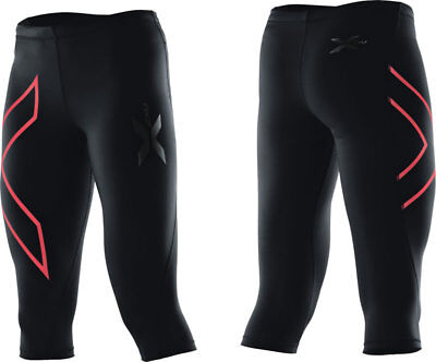 2XU Women's 3/4 Compression Tights Perform Black/Tangerine Running WA1943B XS