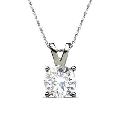 New Sterling Silver 2.00Ct Stimulating Diamond Solitaire Pendant/Necklace Chain