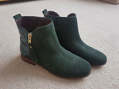 girls green suede ankle boots size 2 Next, metallic, new