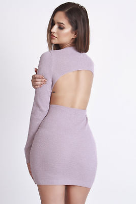 Hotmess Knitted Backless Bodycon Dress Size 8-10 Uk BNWT RRP £48.99 Antique Rose
