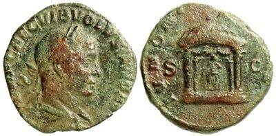 Volusian, Sestertius, Rome Mint, Temple Of Juno, Ric 253A
