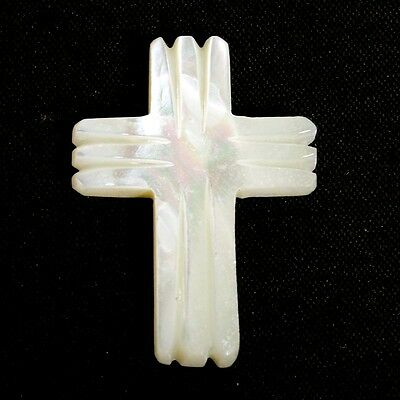 MOTHER OF PEARL 17.5 Carats Cross Carved Gemstone 32x23 mm For Jewellery S-32146