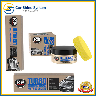 K2 Car Paint Scratch Remover ULTRA CUT TURBO & CARNAUBA WAX Paste Polishing Kit
