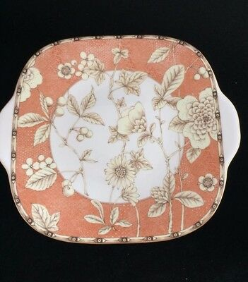 "Wedgwood ""frances"" (Peach)  Square Cake  Plate"