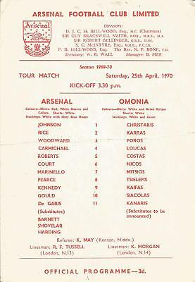 Football Programme - Arsenal v Omonia (Cyprus) - Friendly - 25/4/1970
