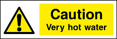 Caution very hot water sign, stickers & plastic
