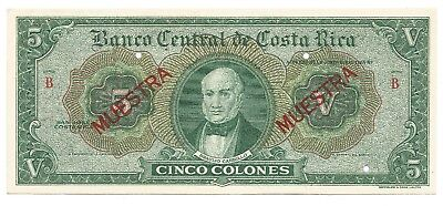 Costa Rica: Specimen Banknote - 5 Colones - Series B- Extremely Rare- Waterlow