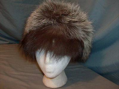 SILVER FOX FUR HAT: (inside tag: Natural Silver Fox Presented by Charlie Rich)